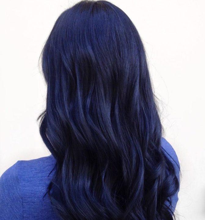 Синий черный цвет волос