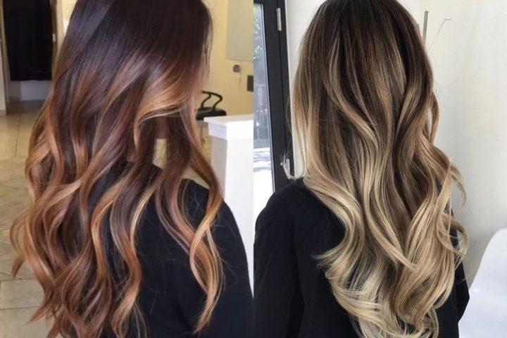 Растяжка цвета на темные прямые волосы