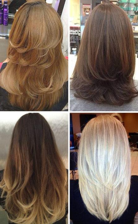 Стрижка на длинные волосы вид сзади фото